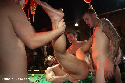 Photo number 11 from Gang fucked on the pool table in public shot for Bound in Public on Kink.com. Featuring Ethan Hudson and Christian Wilde in hardcore BDSM & Fetish porn.