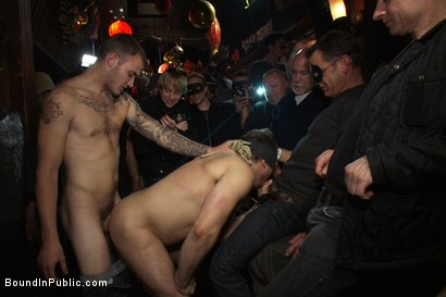 Photo number 2 from Gang fucked on the pool table in public shot for Bound in Public on Kink.com. Featuring Ethan Hudson and Christian Wilde in hardcore BDSM & Fetish porn.