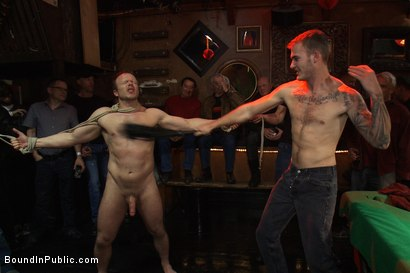 Photo number 4 from Gang fucked on the pool table in public shot for Bound in Public on Kink.com. Featuring Ethan Hudson and Christian Wilde in hardcore BDSM & Fetish porn.