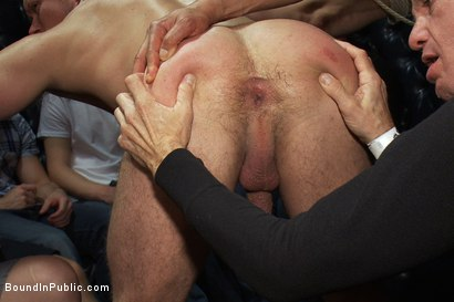 Photo number 5 from Gang fucked on the pool table in public shot for Bound in Public on Kink.com. Featuring Ethan Hudson and Christian Wilde in hardcore BDSM & Fetish porn.