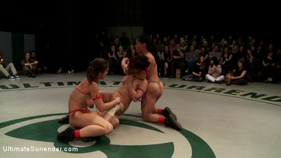 Photo number 14 from RD 1/4 of Feb's Live Tag Team Match: Totally non-scripted collegian style sexual lesbian wresting! shot for Ultimate Surrender on Kink.com. Featuring Bryn Blayne, Rain DeGrey, Izamar Gutierrez, Isis Love and Audrey Rose in hardcore BDSM & Fetish porn.