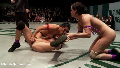 Photo number 10 from RD 2/4 of Feb's Live Tag Team Match: Sexual molestation on the mat! Non-scripted! Shot Live! shot for Ultimate Surrender on Kink.com. Featuring Bryn Blayne, Rain DeGrey, Izamar Gutierrez, Isis Love and Audrey Rose in hardcore BDSM & Fetish porn.