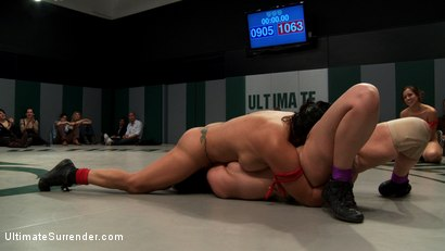Photo number 14 from RD 3/4 of Feb's Live Tag Team Match: Brutal action, devastating scissor locks, scarf chokes. HOT! shot for Ultimate Surrender on Kink.com. Featuring Bryn Blayne, Rain DeGrey, Izamar Gutierrez, Isis Love and Audrey Rose in hardcore BDSM & Fetish porn.