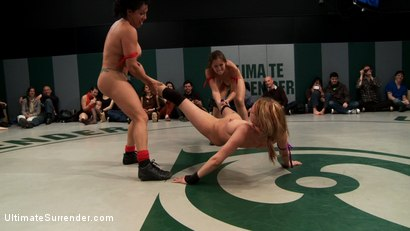 Photo number 4 from RD 3/4 of Feb's Live Tag Team Match: Brutal action, devastating scissor locks, scarf chokes. HOT! shot for Ultimate Surrender on Kink.com. Featuring Bryn Blayne, Rain DeGrey, Izamar Gutierrez, Isis Love and Audrey Rose in hardcore BDSM & Fetish porn.