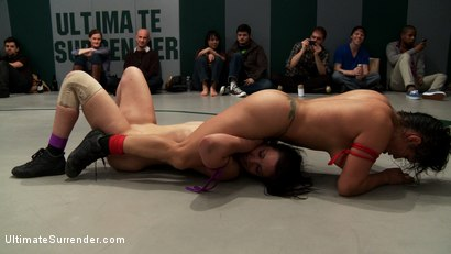 Photo number 7 from RD 3/4 of Feb's Live Tag Team Match: Brutal action, devastating scissor locks, scarf chokes. HOT! shot for Ultimate Surrender on Kink.com. Featuring Bryn Blayne, Rain DeGrey, Izamar Gutierrez, Isis Love and Audrey Rose in hardcore BDSM & Fetish porn.