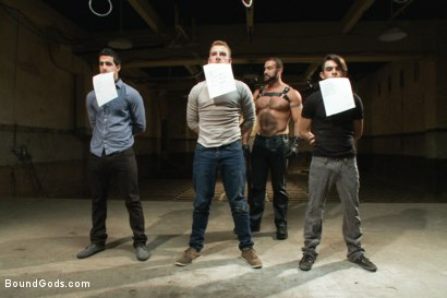 Photo number 1 from Slave Auction - Live Shoot shot for Bound Gods on Kink.com. Featuring Dylan Deap, Spencer Reed, Van Darkholme, Sebastian Keys and Tyler Alexander in hardcore BDSM & Fetish porn.