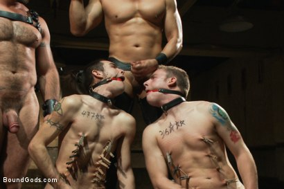 Photo number 14 from Slave Auction - Live Shoot shot for Bound Gods on Kink.com. Featuring Dylan Deap, Spencer Reed, Van Darkholme, Sebastian Keys and Tyler Alexander in hardcore BDSM & Fetish porn.