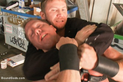 Photo number 1 from The Creepy Janitor and Another Bodybuilder shot for Bound Gods on Kink.com. Featuring Brenn Wyson and Derek Pain in hardcore BDSM & Fetish porn.