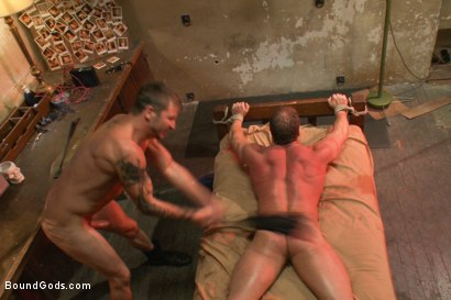 Photo number 13 from The Creepy Janitor and Another Bodybuilder shot for Bound Gods on Kink.com. Featuring Brenn Wyson and Derek Pain in hardcore BDSM & Fetish porn.