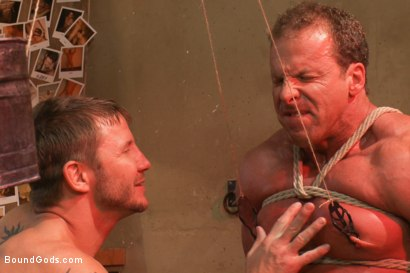 Photo number 9 from The Creepy Janitor and Another Bodybuilder shot for Bound Gods on Kink.com. Featuring Brenn Wyson and Derek Pain in hardcore BDSM & Fetish porn.