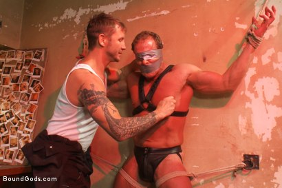 Photo number 2 from The Creepy Janitor and Another Bodybuilder shot for Bound Gods on Kink.com. Featuring Brenn Wyson and Derek Pain in hardcore BDSM & Fetish porn.
