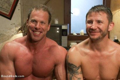 Photo number 15 from The Creepy Janitor and Another Bodybuilder shot for Bound Gods on Kink.com. Featuring Brenn Wyson and Derek Pain in hardcore BDSM & Fetish porn.