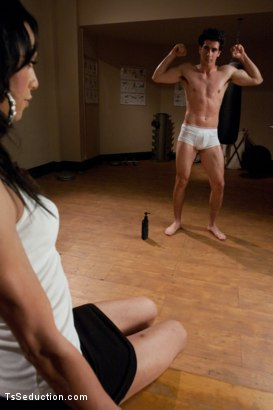 Photo number 2 from BONUS FRIDAY SCENE: NEW GIRL ALERT! Seducing a hot trainer Stud shot for TS Seduction on Kink.com. Featuring Unique Murcielago and Tyler Alexander in hardcore BDSM & Fetish porn.
