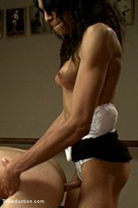 Photo number 8 from BONUS FRIDAY SCENE: NEW GIRL ALERT! Seducing a hot trainer Stud shot for TS Seduction on Kink.com. Featuring Unique Murcielago and Tyler Alexander in hardcore BDSM & Fetish porn.