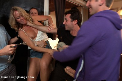 Photo number 2 from Hey Mrs. S: MILFTASTIC FEATURE SHOOT shot for Bound Gang Bangs on Kink.com. Featuring Simone Sonay, Dane Cross, Owen Gray, Danny Wylde, Seth Storm, James Deen and Rob Blu in hardcore BDSM & Fetish porn.