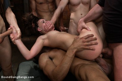 Photo number 11 from Gorgeous French Girl Taken Down in Rough Gangbang  shot for Bound Gang Bangs on Kink.com. Featuring Tiffany Doll, Karlo Karrera, Mark Davis, Danny Wylde, Mickey Mod and Owen Gray in hardcore BDSM & Fetish porn.