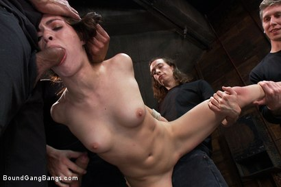 Photo number 2 from Gorgeous French Girl Taken Down in Rough Gangbang  shot for Bound Gang Bangs on Kink.com. Featuring Tiffany Doll, Karlo Karrera, Mark Davis, Danny Wylde, Mickey Mod and Owen Gray in hardcore BDSM & Fetish porn.