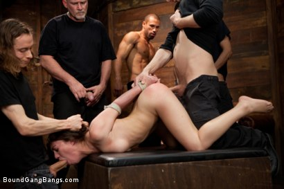 Photo number 3 from Gorgeous French Girl Taken Down in Rough Gangbang  shot for Bound Gang Bangs on Kink.com. Featuring Tiffany Doll, Karlo Karrera, Mark Davis, Danny Wylde, Mickey Mod and Owen Gray in hardcore BDSM & Fetish porn.