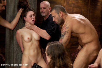 Photo number 7 from Gorgeous French Girl Taken Down in Rough Gangbang  shot for Bound Gang Bangs on Kink.com. Featuring Tiffany Doll, Karlo Karrera, Mark Davis, Danny Wylde, Mickey Mod and Owen Gray in hardcore BDSM & Fetish porn.