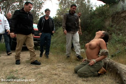Photo number 3 from Busty Camper gets a Surprise Creampie  shot for Bound Gang Bangs on Kink.com. Featuring John Strong, Toni Ribas, Karlo Karrera, James Deen, Mr. Pete, Mark Davis and Charity Bangs in hardcore BDSM & Fetish porn.