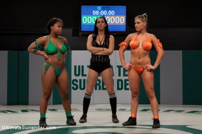 Photo number 1 from Two Rookies Battle for a win: Who will end up the winner and who will get nailed on the mat in rd 4? shot for Ultimate Surrender on Kink.com. Featuring Charisma Cappelli, Yasmine Loven and Isis Love in hardcore BDSM & Fetish porn.