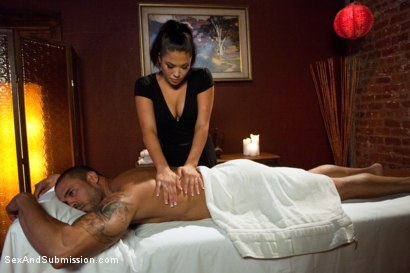 Photo number 2 from Punished Masseuse shot for Sex And Submission on Kink.com. Featuring London Keyes and Karlo Karrera in hardcore BDSM & Fetish porn.