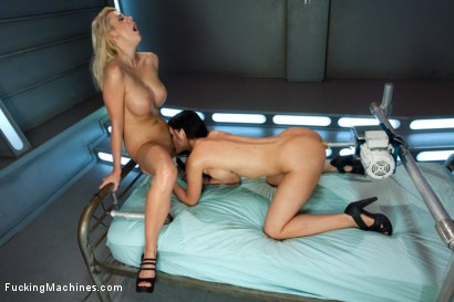 Photo number 9 from The Boob Duo: Storming The Sex Machines with Their tits shot for Fucking Machines on Kink.com. Featuring Courtney Taylor and Kendall Karson in hardcore BDSM & Fetish porn.