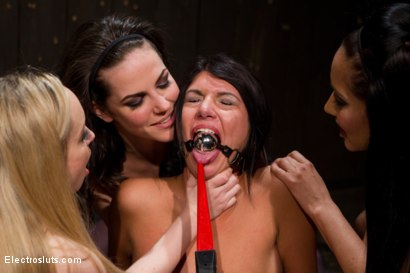 Photo number 6 from Cassandra Nix Gets an Electric Double Penetration shot for Electro Sluts on Kink.com. Featuring Aiden Starr, Bobbi Starr, Isis Love and Cassandra Nix in hardcore BDSM & Fetish porn.