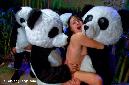 Photo number 12 from PANDAMONIUM!!! PANDA LULLABY!!! PANDA PORNO!!!!! shot for Bound Gang Bangs on Kink.com. Featuring James Deen, Mickey Mod, Karlo Karrera, Ramon Nomar, Mark Davis and Ashli  Orion in hardcore BDSM & Fetish porn.