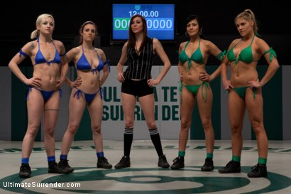Photo number 1 from RD 1/4 of March's Live Tag Team Match: Totally non-scripted collegian style sexual lesbian wresting! shot for Ultimate Surrender on Kink.com. Featuring Beretta James, Charisma Cappelli, Iona Grace, Princess Donna Dolore and Shae Simone in hardcore BDSM & Fetish porn.