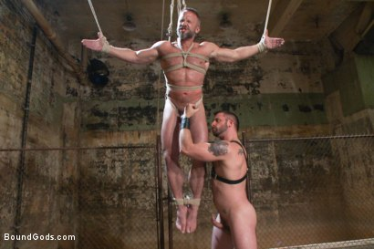 Photo number 9 from Men On The Prowl shot for Bound Gods on Kink.com. Featuring Dirk Caber and Morgan Black in hardcore BDSM & Fetish porn.