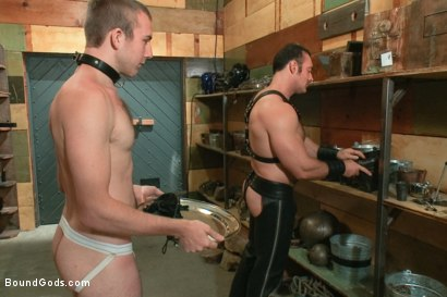 Photo number 1 from Please tase my 19 year old ass while you cum, Sir! shot for Bound Gods on Kink.com. Featuring Brad Kalvo and     Cody Allen in hardcore BDSM & Fetish porn.