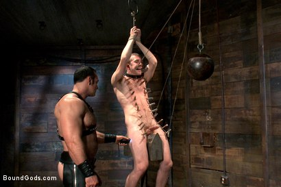 Photo number 10 from Please tase my 19 year old ass while you cum, Sir! shot for Bound Gods on Kink.com. Featuring Brad Kalvo and     Cody Allen in hardcore BDSM & Fetish porn.