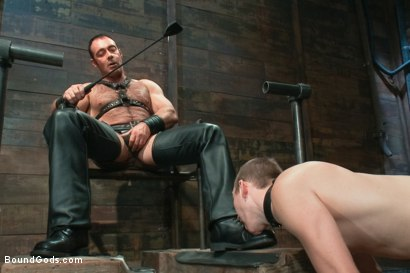 Photo number 3 from Please tase my 19 year old ass while you cum, Sir! shot for Bound Gods on Kink.com. Featuring Brad Kalvo and     Cody Allen in hardcore BDSM & Fetish porn.