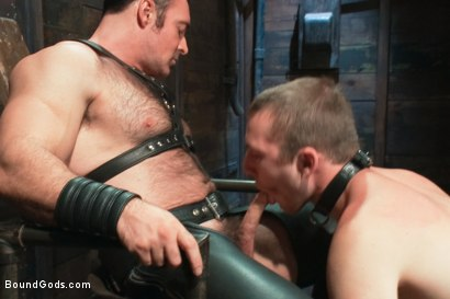 Photo number 5 from Please tase my 19 year old ass while you cum, Sir! shot for Bound Gods on Kink.com. Featuring Brad Kalvo and     Cody Allen in hardcore BDSM & Fetish porn.