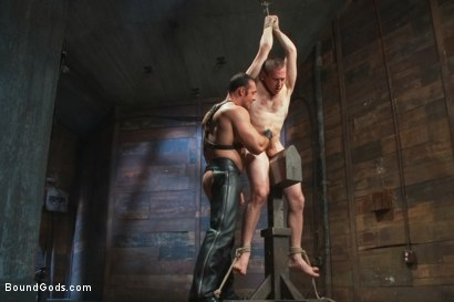 Photo number 7 from Please tase my 19 year old ass while you cum, Sir! shot for Bound Gods on Kink.com. Featuring Brad Kalvo and     Cody Allen in hardcore BDSM & Fetish porn.