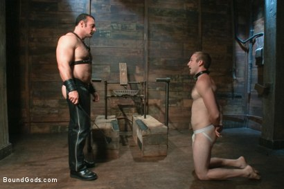 Photo number 2 from Please tase my 19 year old ass while you cum, Sir! shot for Bound Gods on Kink.com. Featuring Brad Kalvo and Cody Allen in hardcore BDSM & Fetish porn.