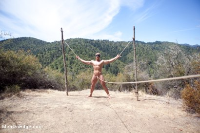 Photo number 9 from Captured straight jock gets his tight ass violated in the deep woods shot for Men On Edge on Kink.com. Featuring Logan Vaughn in hardcore BDSM & Fetish porn.
