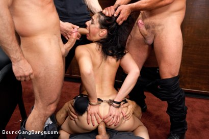 Photo number 6 from Brunette Bank Teller with Big Round Ass gets Gangbanged by Bank Robbers in her Naughty Fantasy shot for Bound Gang Bangs on Kink.com. Featuring Ramon Nomar, John Strong, Toni Ribas, Sheena Ryder and Owen Gray in hardcore BDSM & Fetish porn.