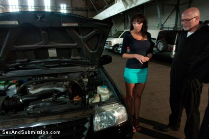 Photo number 1 from The Mechanic: Huge Natural Tits MILF Fucked and Dominated!  shot for sexandsubmission on Kink.com. Featuring Alia Janine and Mark Davis in hardcore BDSM & Fetish porn.