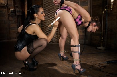 Photo number 5 from Electric Body Used to Power a Light Bulb and Butt Plug shot for electrosluts on Kink.com. Featuring Isis Love and Audrey Rose in hardcore BDSM & Fetish porn.