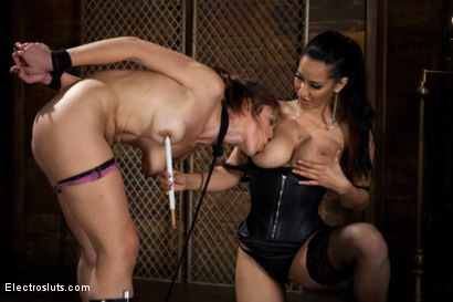 Photo number 9 from Electric Body Used to Power a Light Bulb and Butt Plug shot for electrosluts on Kink.com. Featuring Isis Love and Audrey Rose in hardcore BDSM & Fetish porn.
