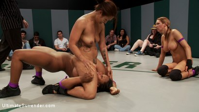 Photo number 1 from Rd 3/4 April's Tag Team: Final Round to determine the winner! Live non-scripted sexual wrestling!! shot for Ultimate Surrender on Kink.com. Featuring Lyla Storm, Yasmine Loven, DragonLily and Rain DeGrey in hardcore BDSM & Fetish porn.