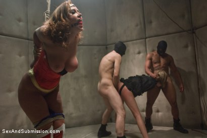 "Photo number 10 from ""OPERATION AMERICANA"" <br>America's greatest hero, cumming like a whore shot for Sex And Submission on Kink.com. Featuring Christina Carter, Isis Love, Princess Donna Dolore and Riley Rey in hardcore BDSM & Fetish porn."