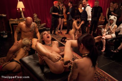 Photo number 9 from Slave Initiation: piggy Part 2 shot for The Upper Floor on Kink.com. Featuring Krysta Kaos, Lily LaBeau, Dylan Ryan, Beretta James and Derrick Pierce in hardcore BDSM & Fetish porn.