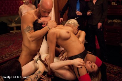 Photo number 2 from Slave Initiation: piggy Part 2 shot for The Upper Floor on Kink.com. Featuring Krysta Kaos, Lily LaBeau, Dylan Ryan, Beretta James and Derrick Pierce in hardcore BDSM & Fetish porn.