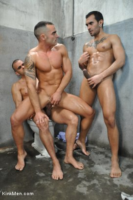 Photo number 1 from Nacho Vidal's Dark Tales From Europe - The Bathroom shot for KinkMen.com Test Shoots on Kink.com. Featuring Lucio Saints, Adrian Toledo and Damien Crosse in hardcore BDSM & Fetish porn.