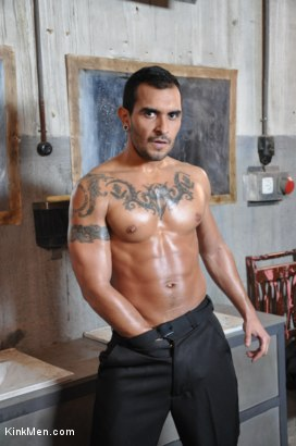 Photo number 2 from Nacho Vidal's Dark Tales From Europe - The Bathroom shot for KinkMen.com Test Shoots on Kink.com. Featuring Lucio Saints, Adrian Toledo and Damien Crosse in hardcore BDSM & Fetish porn.