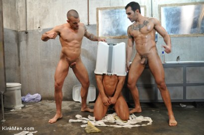 Photo number 12 from Nacho Vidal's Dark Tales From Europe - The Bathroom shot for KinkMen.com Test Shoots on Kink.com. Featuring Lucio Saints, Adrian Toledo and Damien Crosse in hardcore BDSM & Fetish porn.