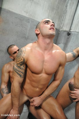Photo number 4 from Nacho Vidal's Dark Tales From Europe - The Bathroom shot for KinkMen.com Test Shoots on Kink.com. Featuring Lucio Saints, Adrian Toledo and Damien Crosse in hardcore BDSM & Fetish porn.
